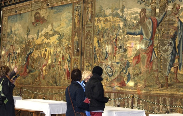 Tapestries and monitors. Hampton Court Palace