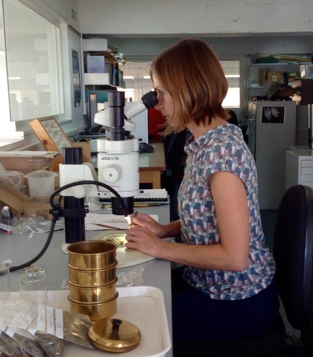 Ruth at microscope