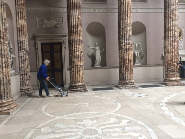 Scanning the Marble Hall floor at Kedleston