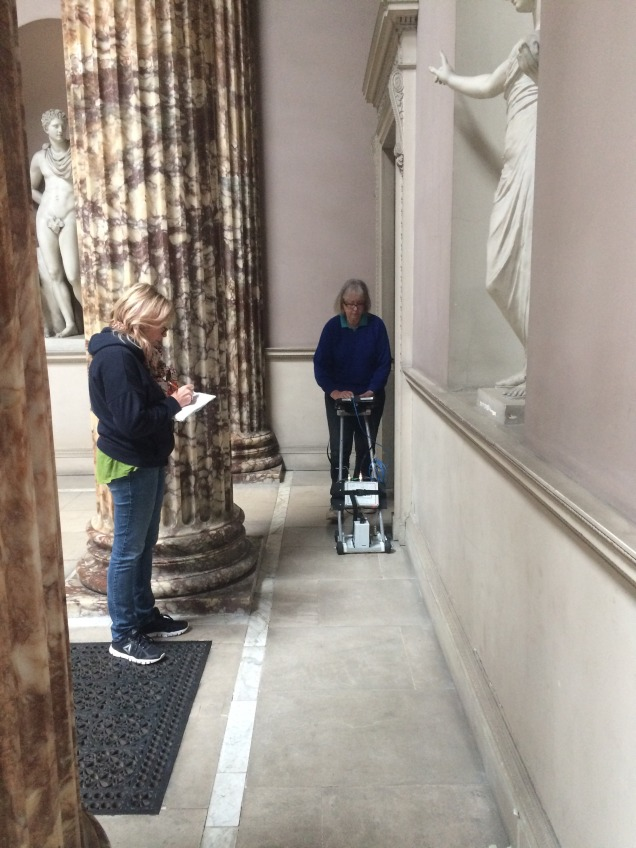 Scanning marble hall floor at Kedleston