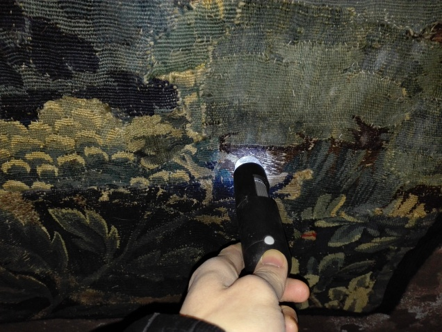 Image of condition assessment of tapestry at Hellens Manor using a handheld microscope