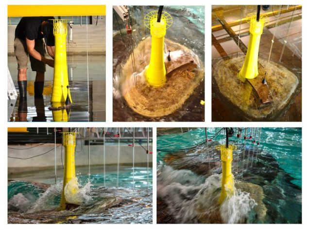 A sequence of five images show tests conducted on the 1:40 scale model lighthouse.