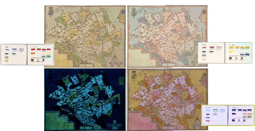 Four variations on an image of a map of Ulster taken with multispectral imaging.